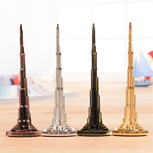 Vintage18cm Rhinestone Burj Khalifa tower Model metal crafts office ornaments gifts auspicious Tower home decoration accessories Kangsanli (silver)