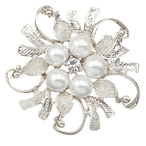 SANWOOD Flower Brooch Pin Rhinestone Crystal Faux Pearl Bouquet Bridal Wedding broach Jewelry (Silver)