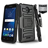 Phone Case for [ALCATEL Raven LTE (A574BL)], [Refined Series][Black] Shockproof Cover with [Kickstand] & [Holster] for Alcatel Raven LTE (Tracfone, Simple Mobile, Straight Talk, Total Wireless)