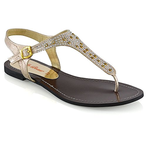 ESSEX GLAM Womens Flat Strappy Thong Sparkly Diamante Sandals Buckle Ladies Shoes Size 3-8 Gold HyKBCB6ROg