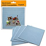 "LEGO Compatible Baseplate Board (4-pack) Large Gray 10""x10"" Brick Base Board Plate for Building, Activity Table, and LEGO Wall"