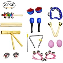 20 Pcs Kids Musical Instruments ,Toddlers Percussion Toys , Wooden Rhythm Band Set , Included Maracas/Shaker Eggs/Wrist Bells/Hand bells/Triangle/Finger Castanets/Cymbals /Carrying Bag