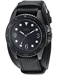 GUESS Mens Stainless Steel Casual Leather Cuff Watch, Color: Black (Model: U1052G4)