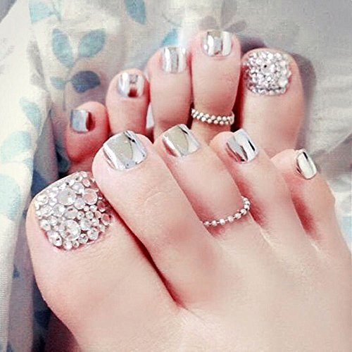 Summer Beauty Chic Toe Nails Metallic Silver For Foot Nail With Rhinestone Foot False Nail