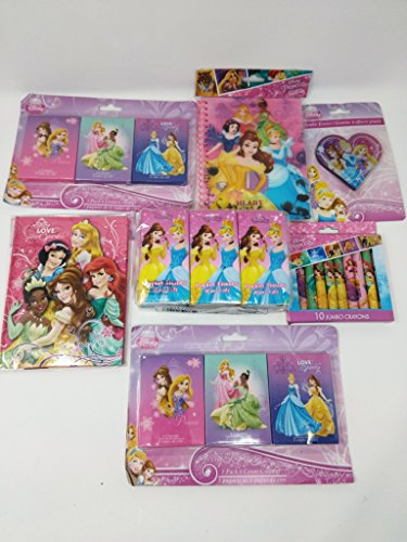 Back to School Toddler Pre-school Elementary School Supplies Tissues Journal (2) Jumbo Crayons (3) Eraser Snow White Belle Sleeping Beauty Ariel Cinderella Tiana Rapunzel Princesses
