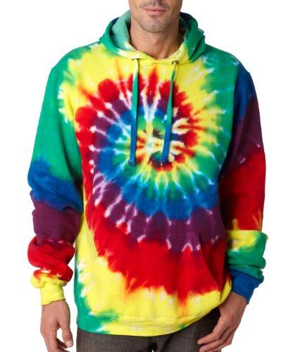 The Adult Tie-Dye Hooded Sweatshirt (Rainbow) (3X-Large)