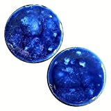 Pair - Celestial Blue Glass Essential Oil Ear Plugs Organic Handmade Ceramic double-flared body jewelry