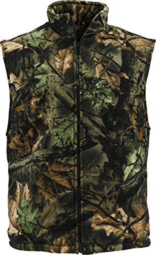 - Trailcrest mens soft fleece full zippered hunting camo vest (XL)