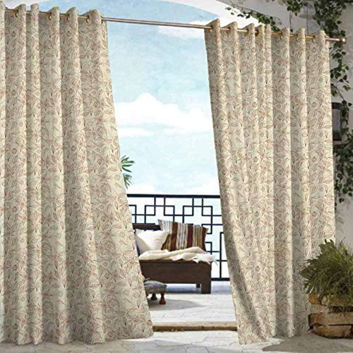 DILITECK Pergola Curtain Beige Vintage Flower Pattern Abstract Lined Foliage Arrangement Leaves Retro Art Nouveau Energy Efficient, Room Darkening W108 xL84 Beige Redwood