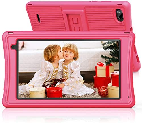 "Kids Tablet 7""-JEEMAK Toddler Tablet with Parental Control, Wifi, Dual Camera, Android 10, Kids Edition Tablets for Home School Education, 2GB RAM+16GB ROM HD Display, Childrens Tablet with Case, Pink"