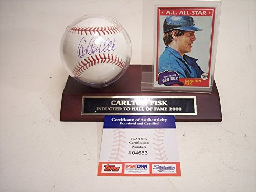 Carlton Fisk Autographed Signature Major League Baseball PSA/DNA With Plaque & Card ()