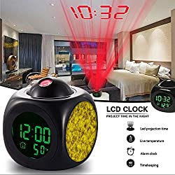 Girlsight Alarm Clock Multi-function Digital LCD Voice Talking LED Projection Wake Up Bedroom with Data and Temperature Wall/Ceiling Projection,owl-189.Gold, Pattern, Yellow, Gold-Plated, Texture