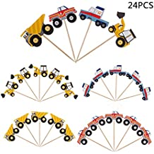 YunKo 24pcs Cupcake Toppers Truck Excavator Dumpers Car Fun Cake Decorative Toppers Cupcake Decorating Tools for Party