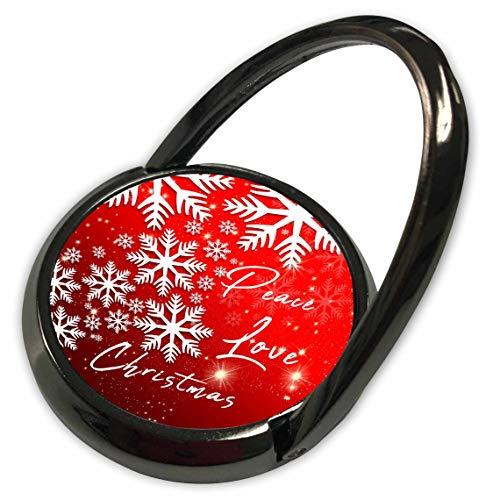 3dRose Alexis Design - Holidays Christmas - White Snowflakes, Stars on red. Peace, Love, Christmas Greetings - Phone Ring (phr_298672_1)