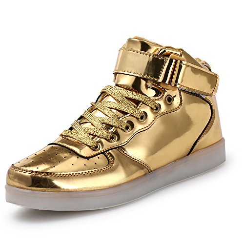 PRETTYHOMEL LED Light-up Couple Women's Men's Sport Shoes Sneakers USB Charging for Valentine's Day Christmas Halloween(Gold 43/12 B(M) US Women/9 D(M) US (12 Nights Of Halloween Song)