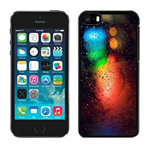 NEW Unique Custom Designed iPhone 5C Phone Case With Rain On Glass Blue Green Red Lights_Black Phone Case