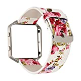 (US) For Fitbit Blaze Bands Leather with Frame Large, MagicFeel Women's Soft PU Leather Floral Print Replacement Band Large Strap Wristband with Metal Frame for Fitbit Blaze Smart Watch (White/Pink)