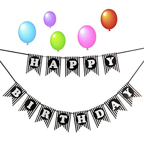 LOVELY BITON Happy Birthday Banner,Party Decorations, Birthday Decorations Supplies, Bunting Birthday Flag Banner for all people age,Send 5 Balloons Free(black)]()