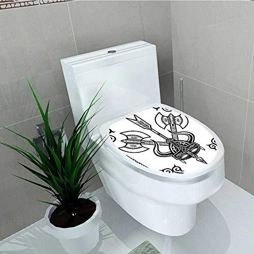 (Philip C. Williams Bathroom Toilet Viking Helmet Horn Arrow Axe War Style Battle Culture Art Prints Black White Vinyl Decal Sticker W14 x L16)
