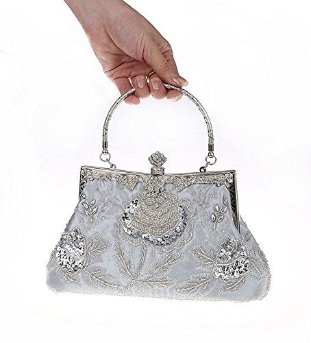 Vintage et strass soirée de Pochette soie Heyjewels argent sac en main à AqxdgFw1R