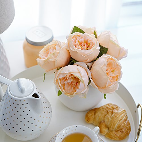 Artificial Peony Silk Flower Bouquet for Wedding Floral Arrangements and Home Decoration - Peach Color, 5 Stem Per Set (Bouquet Birthday Spring)