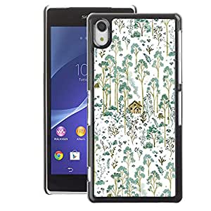 A-type Arte & diseño plástico duro Fundas Cover Cubre Hard Case Cover para Sony Xperia Z2 (Teal Forest Painting House Home Nature)