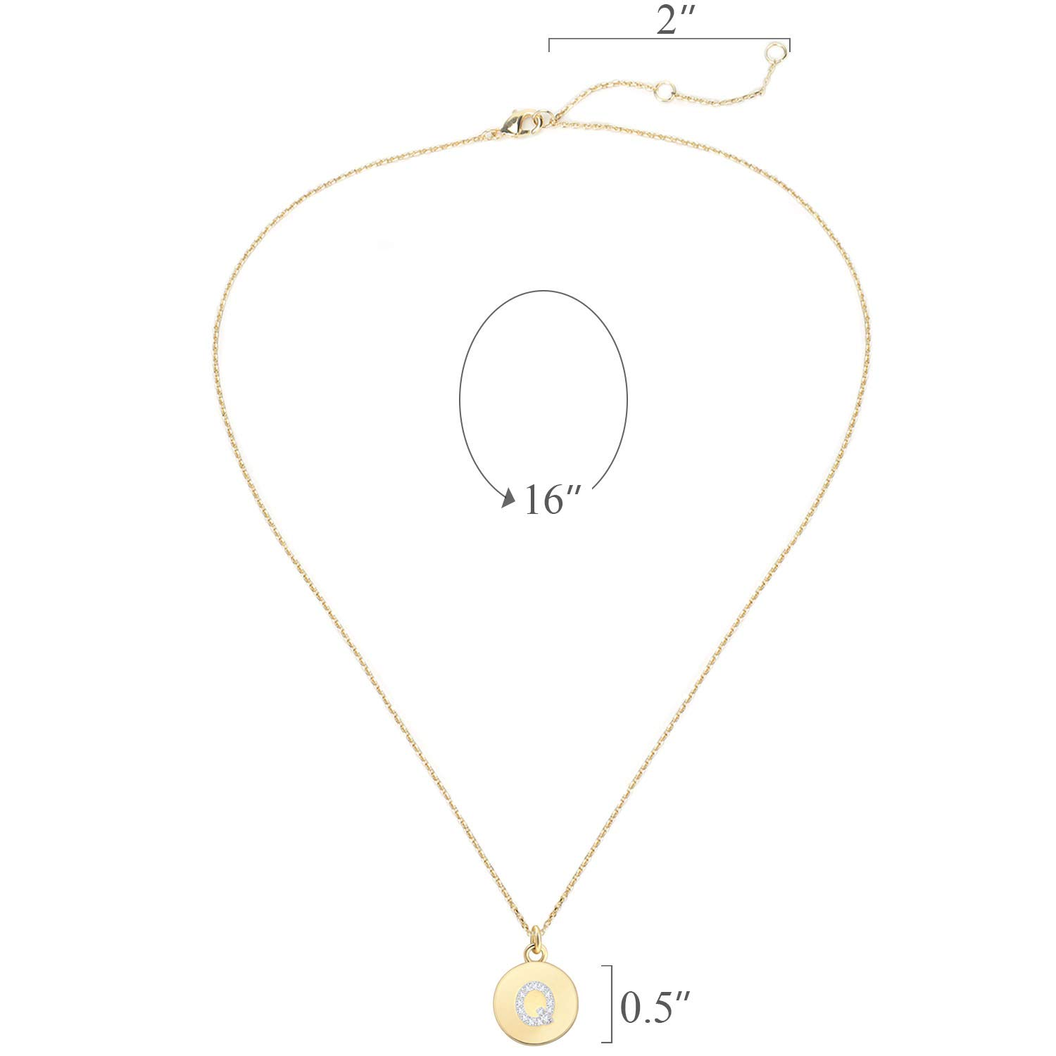 BOUTIQUELOVIN 14k Gold Disc Initial Letter Necklace Dainty Tiny Round Personalized Alphabet Pendant for Women Girls