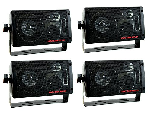 Surface Mount 3 Way Speakers - 4) NEW PYRAMID 2060 600W 3-Way Car Audio Mini Box Speakers Stereo Indoor System