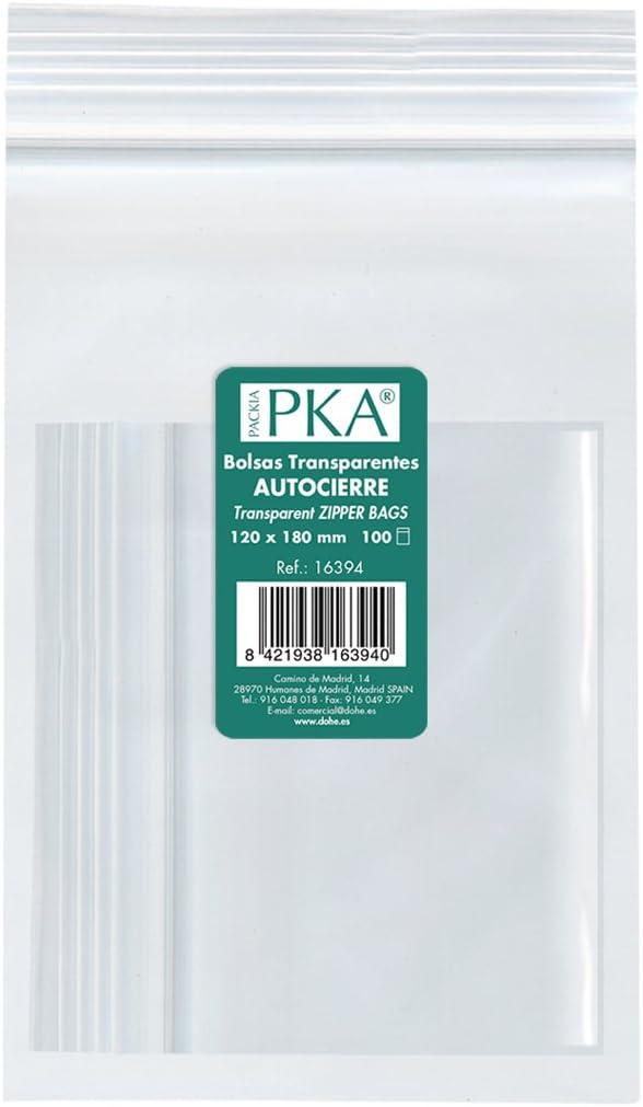 PKA 16394 - Pack de 100 bolsas de plástico con autocierre, 120x180 mm