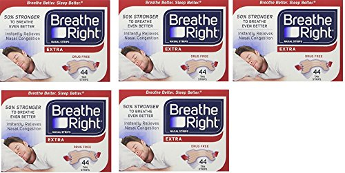Breathe Right Extra Strong Nasal Strips One Size Fits All, Tan ZwVBqy, 5 Pack(44 Strips) by