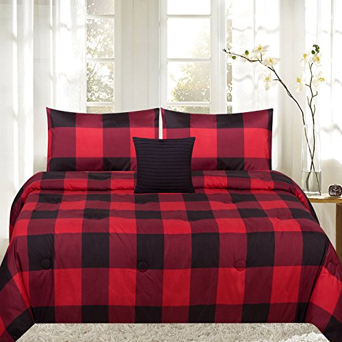 (Moon Daughter Red/Black Buffalo Plaid Reversible Down Alternative 4 Piece Comforter Set King Size)