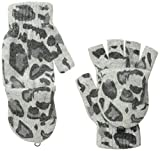 La Fiorentina Women's Animal Print Flip-Top Gloves, Grey, One Size