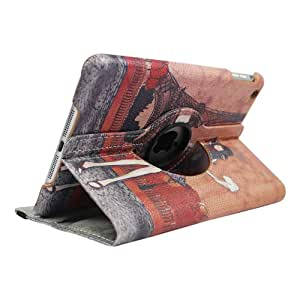 FOME 360 Degrees Rotating Stand PU Leather Flip Case Cover for iPad mini 2 Effiel Tower + FOME Gift