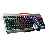 Cywulin Gaming Mouse and Gaming Keyboard Combo, Mechanical LED Backlit Gaming USB Wired 104 Keys Ergonomic Keyboard+Adjustable 3200DPI Gamer Mouse Bundle Pack for PC, Mac, Computer, Laptop (black)