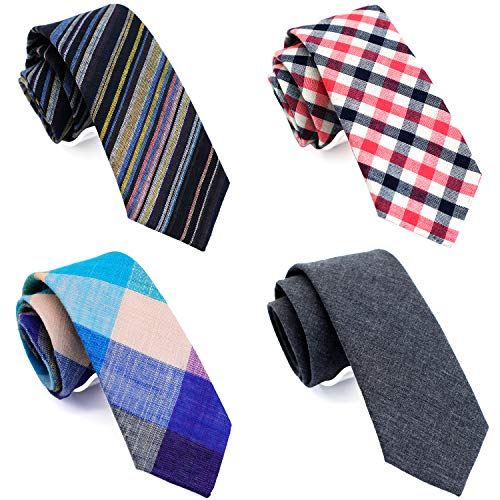 (Casual Skinny Neckties for Men 2.5 Cotton Slim tie Stripe/Black Denim)