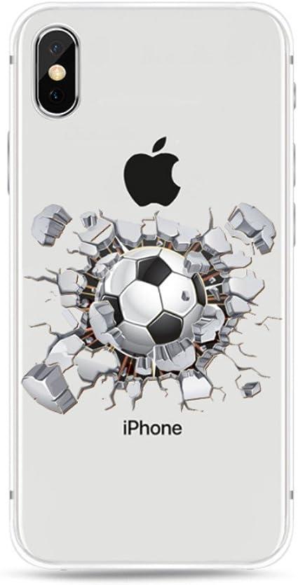 Freessom Coque iPhone 6 plus/6s Plus Football Foot Silicone Transparent Motif avec la Pomme Apple Jolie Dessin Noir Souple Anti Choc Drole Fantaisie ...