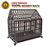 """Cheap Gelinzon Roof Dog Cage Crate Kennel 42"""" Heavy Duty Large Homestead Serise Large Dogs Patent Lock, Tray Four Wheels, Update"""