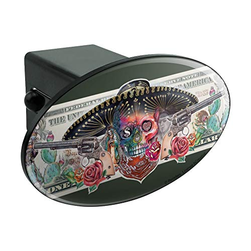 (Graphics and More Calavera Sugar Skull Guns on Dollar Day of The Dead Oval Tow Hitch Cover Trailer Plug Insert)