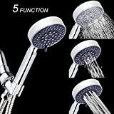 WinZo Spa Detachable Hand Held Shower Head 4'', Winzo High Pressure 5 Way Setting Rainfall Shower, Premium Brushed Nickel Finish, Adjustable Rain Showerhead