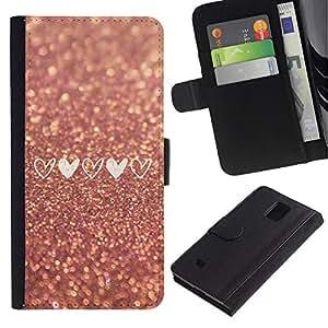 WonderWall Fondo De Pantalla Imagen Diseño Cuero Voltear Ranura Tarjeta Funda Carcasa Cover Skin Case Tapa Para Samsung Galaxy Note 4 SM-N910 - asfalto brillo del corazón del amor del brillo del oro