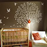 Nursery Flying Birds Wall Sticker Kids Rooms Teen Girls Boys Wallpaper Murals Removable Branch Leaves Tree Decor Art B(Large,Trunk and Birds:White;Leaves:White)