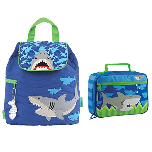 (Stephen Joseph Boys Quilted Shark Backpack and Lunch Box for Kids )
