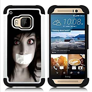 - Anime Goth Girl - - Doble capa caja de la armadura Defender FOR HTC ONE M9 RetroCandy