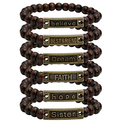 (Milakoo 6 Pcs Mens Womens Wood Beads Bracelet, 8mm Tibetan Beads Buddhist Prayer Mala, Stretchable)