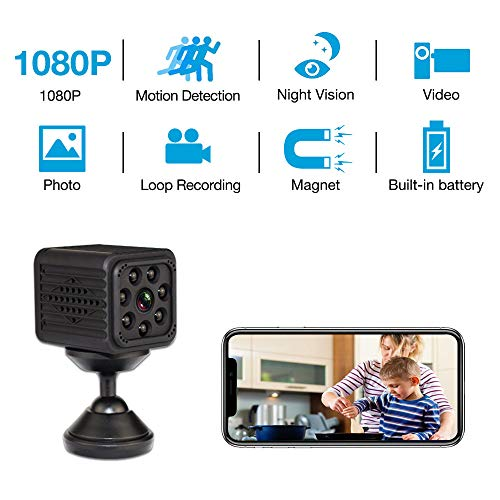 Mini Camera WiFi Wireless 2019 Newest Spy Camera with Seven Level Motion Detection Sensitivity,Password Protection and Automatically Turn on/Off IR Light Function for Home Hidden Camera