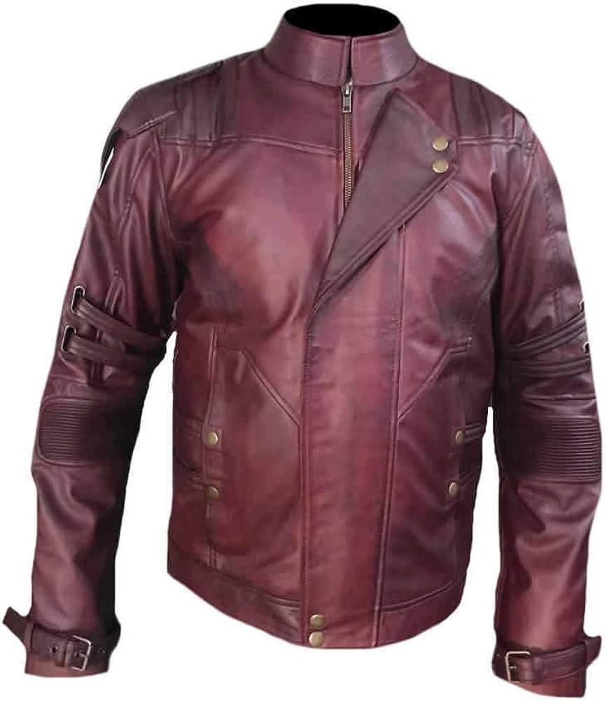 Stormwise Mens Fashion Guardians Leather Galaxy Jacket Faux Burgundy