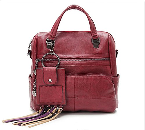 Crossbody 5 11 Bags 11 LXopr 4 backpack bag Shoulder inch Wine PU Ms 5 8 Red tqffAT