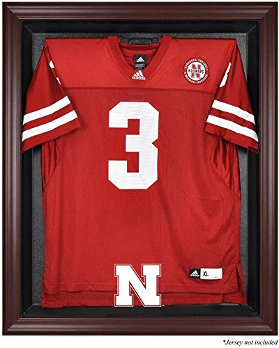 Nebraska Cornhuskers Mahogany Framed Logo Jersey Display Case by Sports Memorabilia