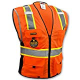 KwikSafety EXTENDED SIZING | BIG KAHUNA Class 2 Safety Vest | 360° High Visibility Reflectivity ANSI Compliant Work Wear | Hi Vis 8 Pocket Breathable Mesh Men & Women | Orange 4XL/5XL