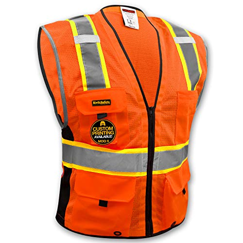 KwikSafety EXTENDED SIZING | BIG KAHUNA Class 2 Safety Vest | 360° High Visibility Reflectivity ANSI Compliant Work Wear | Hi Vis 8 Pocket Breathable Mesh Men & Women | Orange 4XL/5XL by KwikSafety